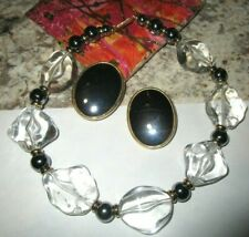 earrings Chunky lucite Necklace Modernist Vrg / mdrn Statement Ben-Amun Hematite