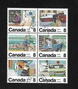 Canada 1974 SC# 639a used see-tenant block of 6 stamps Letter Carrier service #2