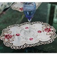 4Pcs Oval Vintage Floral Placemats Embroidered Lace Dining Table Place Mat