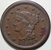 1850  Braided Hair Large Cent, N-22 R4  Die State C - ** VF++ ** Very Rare