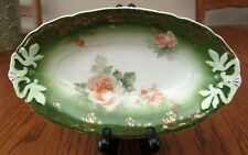 "Hermann Ohme Oblong Bowl-Dark Green w/Gold Filigree Detail-8 7/8"" L.1883-1930"