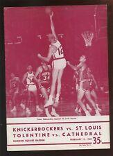 Feb 13 1960 NBA Basketball Program St. Louis Hawks at New York Knickerbockers EX