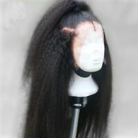 Pre Plucked Lace Front Kinky Straight Wig Real Brazilian Human Hair Full Wigs gu