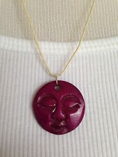 BRAND NEW Hand carved bone full moon face necklace!! Purple