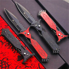 """9"""" SPRING ASSISTED FOLDING STILETTO TACTICAL KNIFE Blade Open Pocket Rescue 2Pcs"""