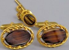 Excellent Mens Tiger Eye CUFFLINKS Costume Vintage Jewelry O 44