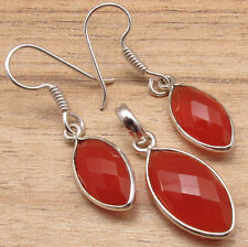 "925 Silver Plated Red CARNELIAN Gems Marquise Shape Earrings 1.5"" Pendant 1.25"""