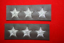 US 3 STAR LT GENERAL COLLAR RANK OFFICERS BULLION ON LEATHER FOR A2 JACKET