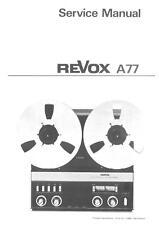 REVOX A77 SERVICE MANUAL ON CD-R