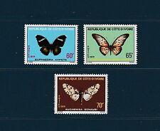 Cote d' Ivoire  faune insectes  papillons  de 1979  num: 498/500  **
