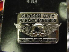 HARLEY DAVIDSON*CARSON CITY,NEVADA*SKULL/WINGS*DEALER*PIN*NEW ON CARD