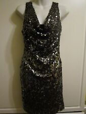 NWT $168.00 Aqua Black and Silver Sequin Holiday Dress Size 2