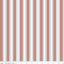 by The Sea Red & White Stripe Riley Blake Fabric FQ or More 100 Cotton Craft