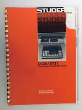 Studer D730 / D731 Compact Disc Player Manual Operating Instructions Manual Torn