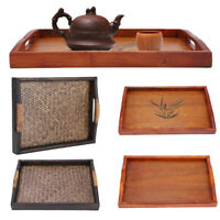 Wood Rectangle Wooden Serving Tray Plate Tea Coffee Food Breakfast Trays Plates