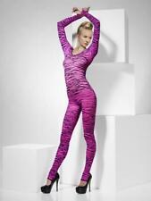 Pink Zebra Animal Print Bodysuit Damas Vestido Elaborado Disfraz De Halloween Mujeres Nuevo