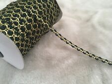 9mm Beautiful rococo Ric Rac ribbon DIY Craft bow trim Dark Green&Gold Per Meter
