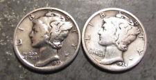 1931P and 1934P Silver Mercury Dimes