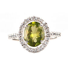 14KT Solid White Gold 1.60 Carat 100% Natural Peridot EGL Certified Diamond Ring
