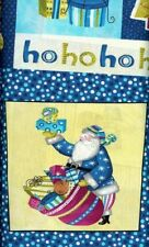 SALE-'SECRET SANTA' PANEL WINTER BLUE CHRISTMAS FABRIC