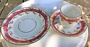 Vintage Tea Cup Saucer & Plate Pink Band Gold Leaf Trim