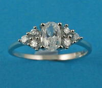 New Ladies Sterling Silver Clear Oval CZ Ring 6mm UK Sizes 925 Hallmarked
