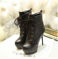 Ladies High Heels Platform Motorcycle Stilettos Ankle Boot Party Shoe Plus Size