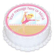 ND5 Gymnastics dancer Birthday personalised round cake topper icing