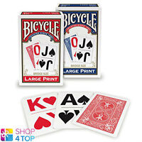 BICYCLE LARGE PRINT PLAYING CARDS DECK MADE IN USA RED BLUE BRIDGE SIZE NEW