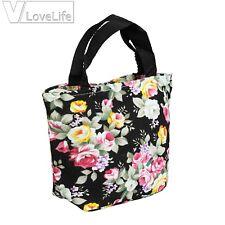 Black Floral Women Handbag Canvas Casual Tote Bag Shopping Lunch Should Bag