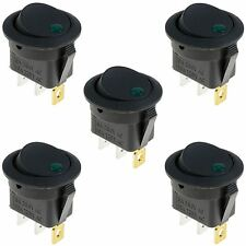 5 x Green LED On/Off Round Rocker Switch Lighted Car Dashboard Dash 12V