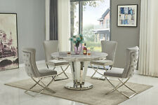 130cm Round Stainless Steel & Grey Marble Dining Table and 4 Grey Velvet Chairs
