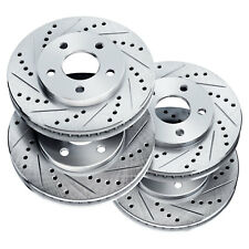 [FRONT+REAR] PowerSport Cross-Drilled Slotted Brake Rotors Disc  BLCC.44179.01