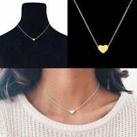 Lady Jewelry Alloy Chain Necklace Gold Color Dainty Tiny Heart Shaped