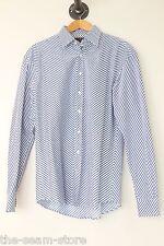 Etro Eyecrushing Zig Zag Cotton Club Shirt 16.5 Blue White Stripe Italy Spots