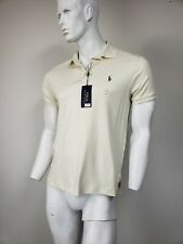 POLO RALPH LAUREN Custom Slim Fit Polo Shirt Cream Cotton Jersey sz M NWT $85
