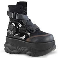 Demonia NEPTUNE-126 Men's Punk Rave Techno Fishnet Platform Lace-Up Ankle Boots