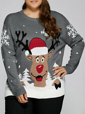 Plus Size Snowflake Elk Christmas Sweater JS