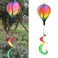 Yard Decor Hot Air Balloon Wind Spinner Rainbow Sequins Windsock Striped CA