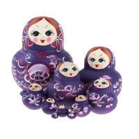 5pcs//set Wooden Hand Painted Russian Girl Matryoshka Nesting Dolls.~