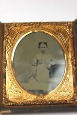 1/6 plate CIVIL WAR ERA TINTYPE Soldier's Daughter w/ Ornate Frame - Half Case