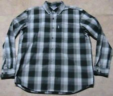 Carhartt Plaid Long Sleeve Shirt Green/White Regular Fit Sz Mens Large Excellent