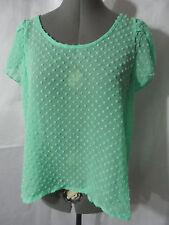 Nwt BOZZOLO Chiffon Tulip Dressy Top SM Mint Green scoop blouse Dot sheer shirt