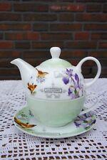 """Zauberhaft: Tea for One  """" Lilie """", 3-teiliges Set aus Qualitätsporzellan"""