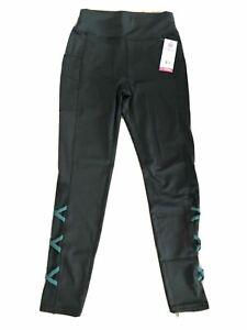 Popfit Leggings Size M Black Pop Fit 2218-34 Activewear Comfort Pockets Mesh