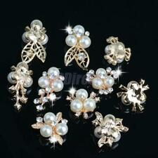 10pcs Pearl Rhinestone Buttons Flatback Embellishments DIY Hair Accessories