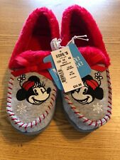 Primark Disney Minnie Mouse Black And Red Cosy Fluffy Slippers BNWT Size 3-8 UK
