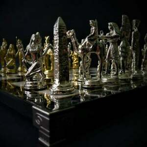 Chess Set Luxury Handmade Metal Ancient Kingdom Egypt Vintage Egyptian Pharaoh