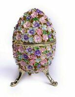 Scatola per ciondoli a uovo di fiori Faberge fatta a mano da cristalli...
