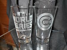 2016 WORLD SERIES NLCS CHICAGO CUBS CONTENDER ETCHED 16 oz PINT GLASSES